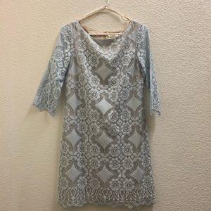 Eliza J lace sheath dress in ice blue